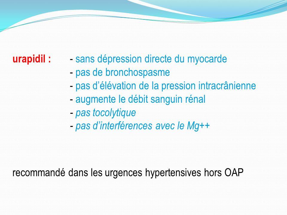 urapidil : - sans dépression directe du myocarde - pas de bronchospasme - pas délévation de la pression intracrânienne - augmente le débit sanguin rénal - pas tocolytique - pas dinterférences avec le Mg++ recommandé dans les urgences hypertensives hors OAP