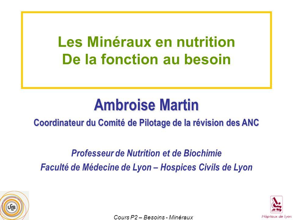 Cours P2 – Besoins - Minéraux Les Minéraux en nutrition De la fonction au besoin Ambroise Martin Coordinateur du Comité de Pilotage de la révision des