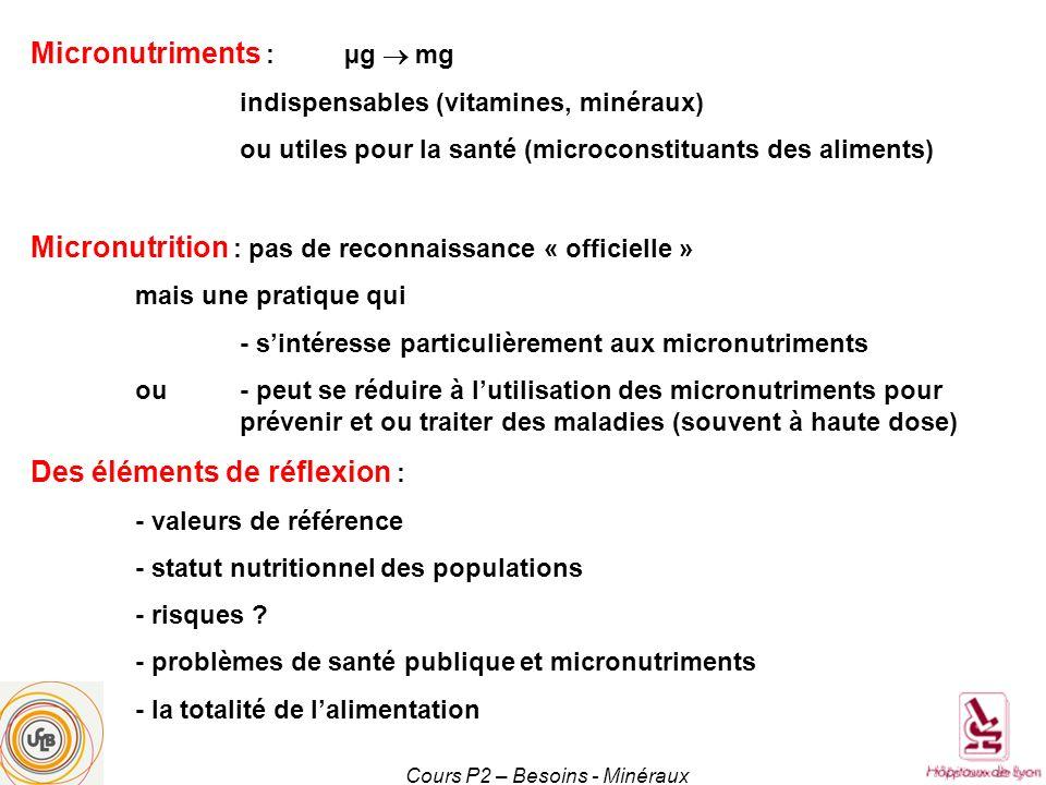 Cours P2 – Besoins - Minéraux Le sodium Na+ (masse 23) 1 g de sodium = 2,54 g de sel (NaCl) Principal minéral extracellulaire Rôle fondamental dans léquilibre hydrominéral, maintenu activement grâce à de nombreuses pompes membranaires Besoin physiologique 2 g/j (environ 100 mmol) Apports très largement supérieurs (8-10 g), essentiellement du sel ajouté industriellement (80 %) ou sur les plats (10-15%) – meilleur marqueur : natriurèse de 24 h Recommandations fondées sur les conséquences tensionnelles à long terme Sodium des eaux, sous forme de bicarbonate, moins délétère Sel 6 g/j soit une natriurèse de 250 mmol/24 h de sodium Des notions simples Habituation à un apport moins salé en quelques semaines On peut toujours resaler, mais pas dé-saler Ne jamais resaler avant davoir goûté Politique publique de réduction du sel