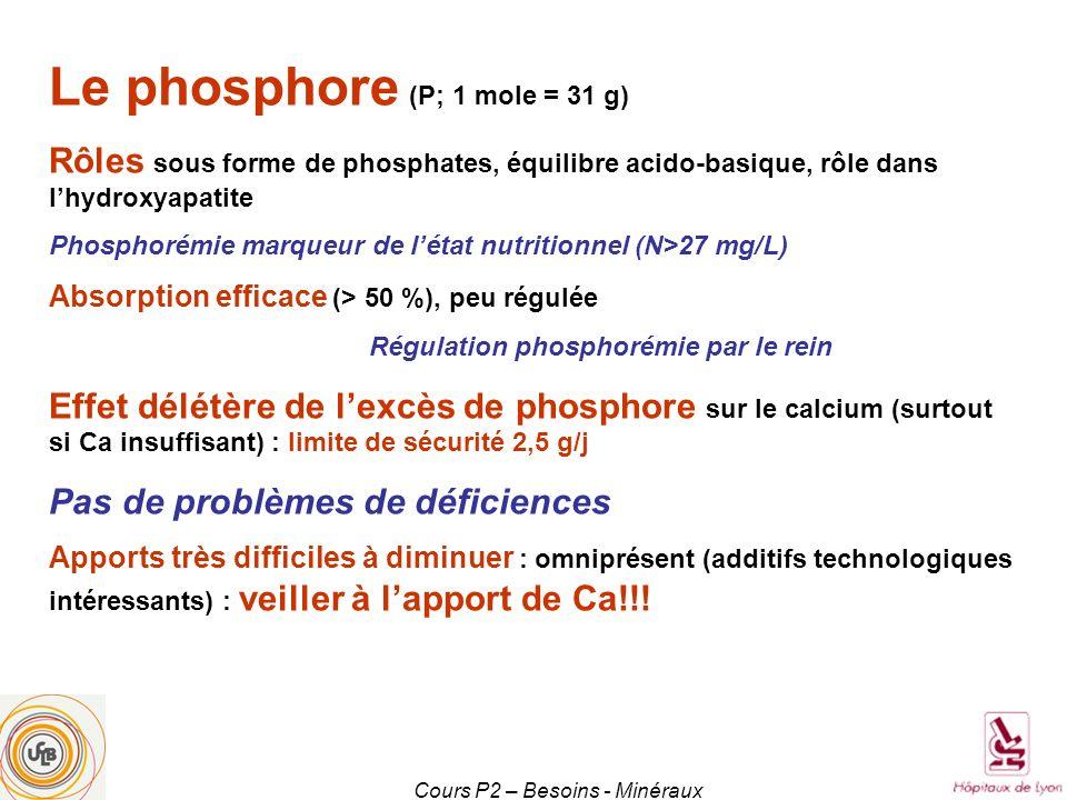 Cours P2 – Besoins - Minéraux Le phosphore (P; 1 mole = 31 g) Rôles sous forme de phosphates, équilibre acido-basique, rôle dans lhydroxyapatite Phosp