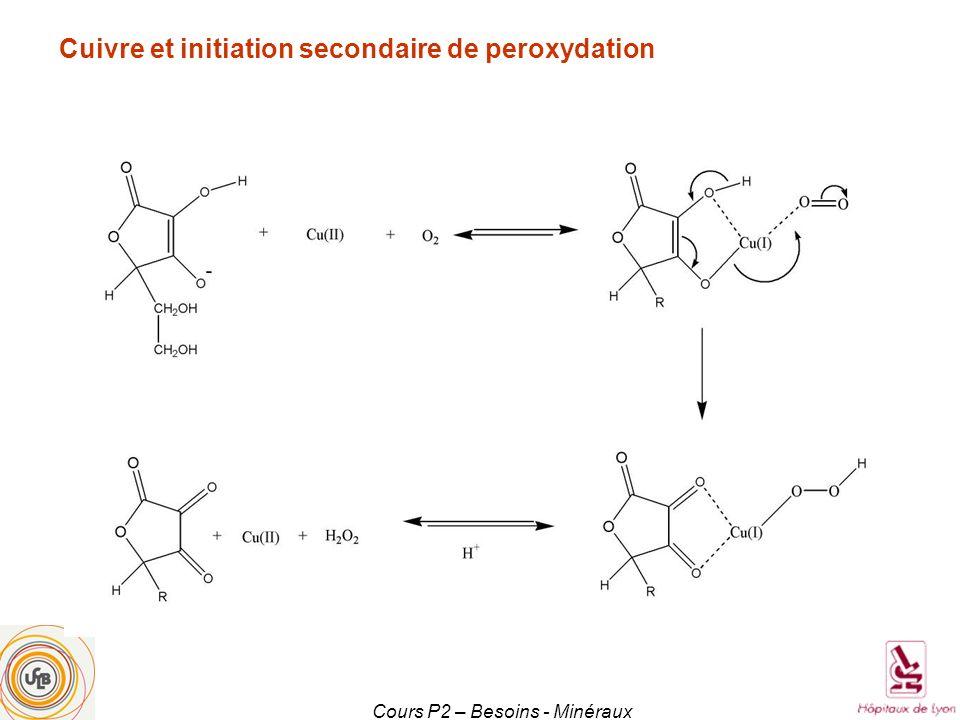 Cours P2 – Besoins - Minéraux Cuivre et initiation secondaire de peroxydation