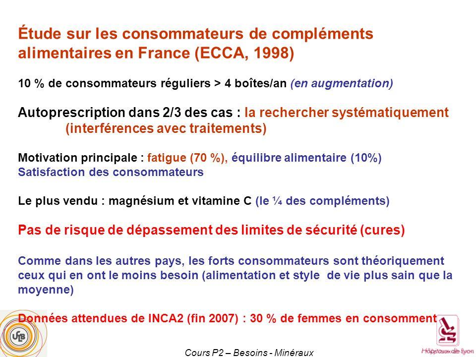 Cours P2 – Besoins - Minéraux Étude sur les consommateurs de compléments alimentaires en France (ECCA, 1998) 10 % de consommateurs réguliers > 4 boîte