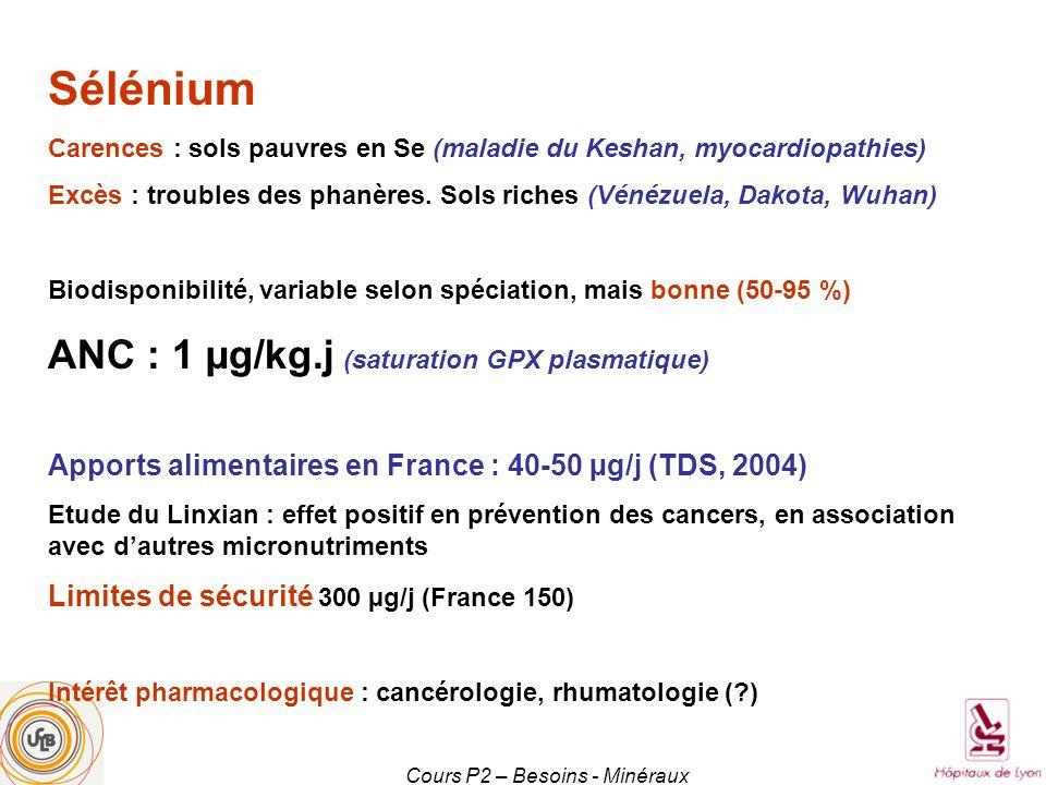 Cours P2 – Besoins - Minéraux Sélénium Carences : sols pauvres en Se (maladie du Keshan, myocardiopathies) Excès : troubles des phanères. Sols riches