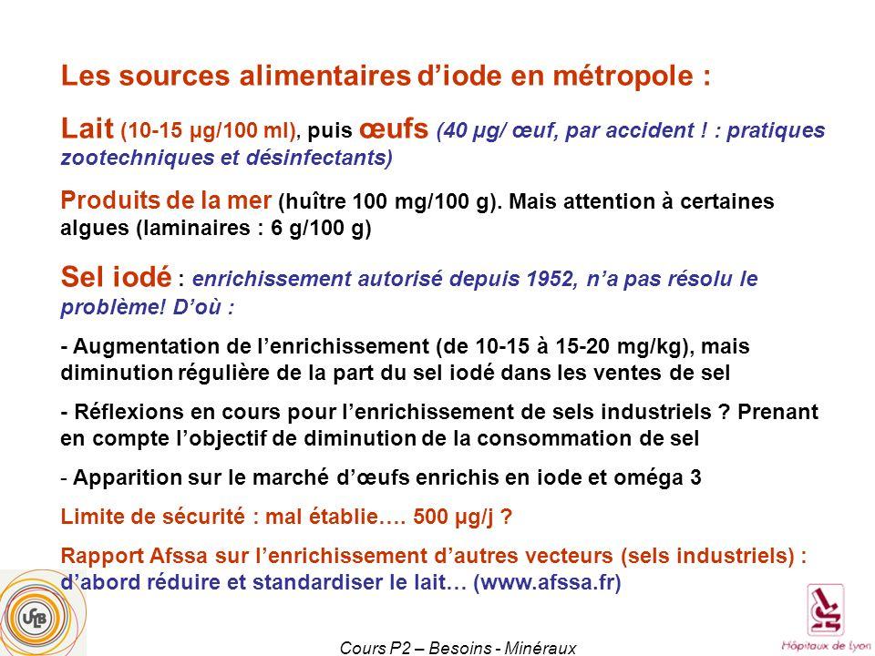 Cours P2 – Besoins - Minéraux Les sources alimentaires diode en métropole : Lait (10-15 µg/100 ml), puis œufs (40 µg/ œuf, par accident ! : pratiques