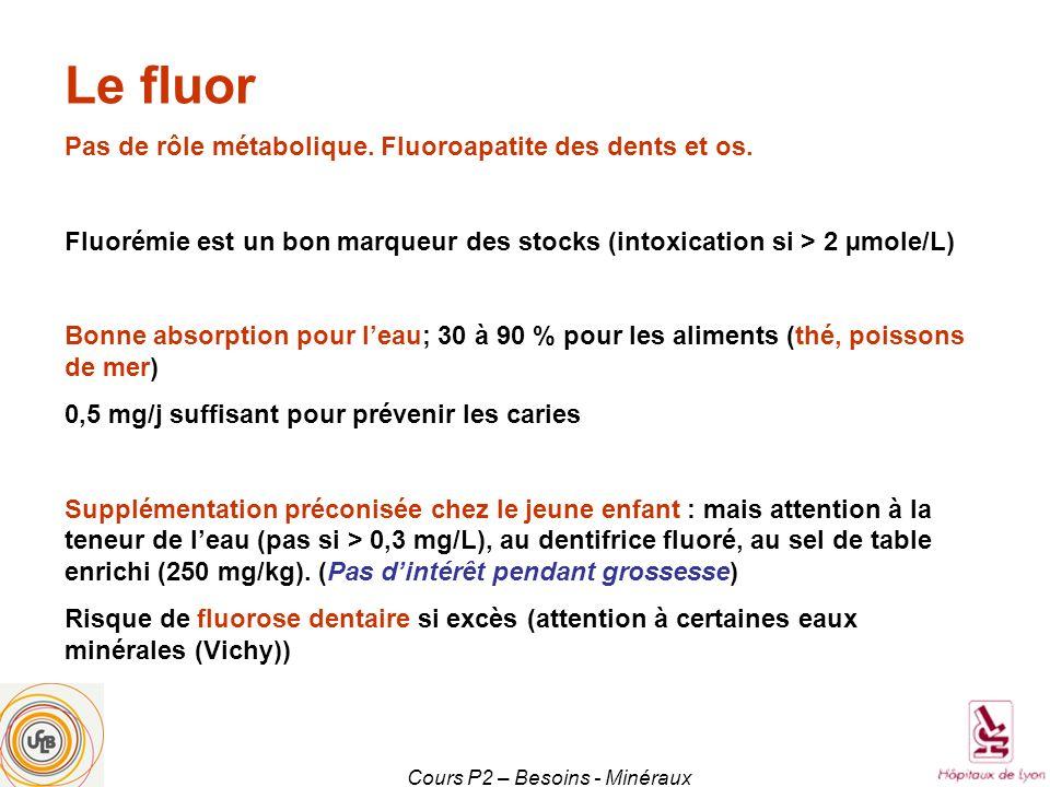 Cours P2 – Besoins - Minéraux Le fluor Pas de rôle métabolique. Fluoroapatite des dents et os. Fluorémie est un bon marqueur des stocks (intoxication