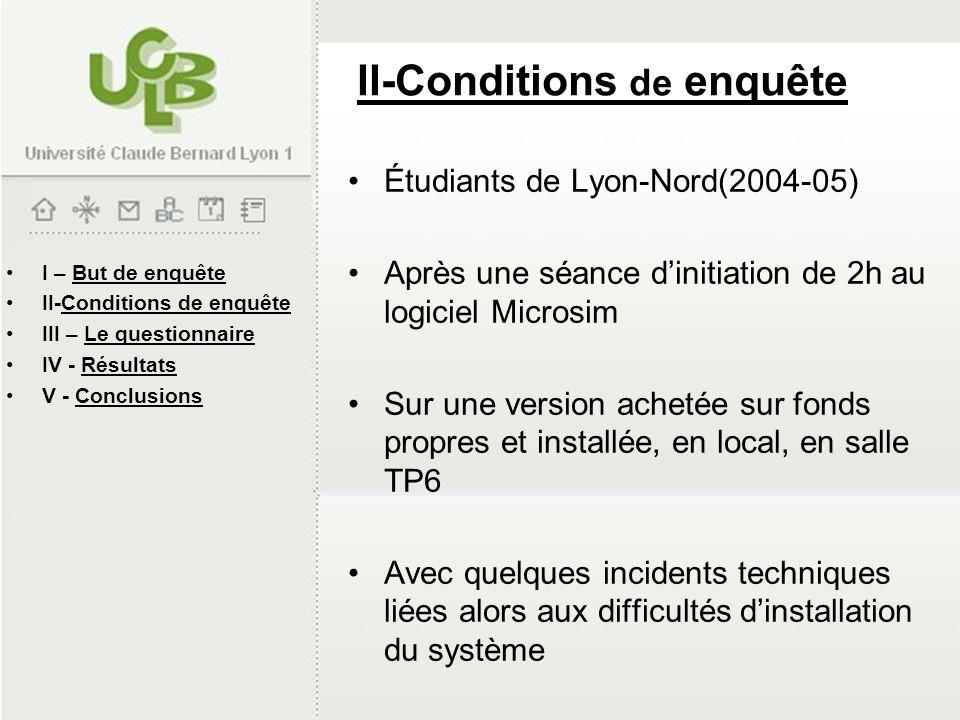 II-Conditions de enquête Étudiants de Lyon-Nord(2004-05) Après une séance dinitiation de 2h au logiciel Microsim Sur une version achetée sur fonds pro