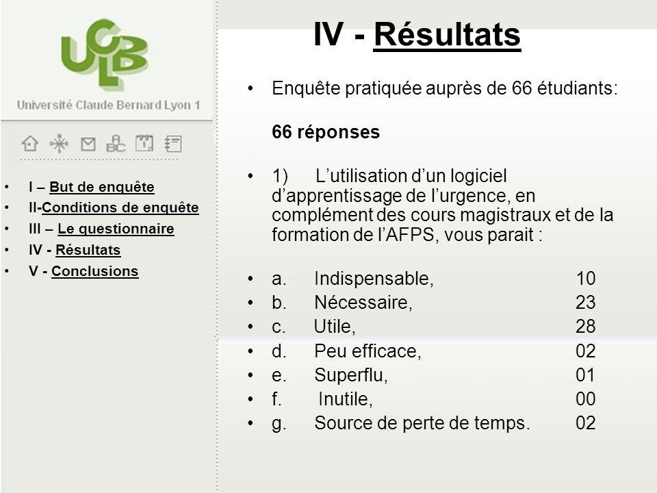 I – But de enquête II-Conditions de enquête III – Le questionnaire IV - Résultats V - Conclusions IV - Résultats Enquête pratiquée auprès de 66 étudia