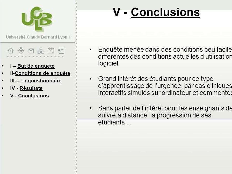 I – But de enquête II-Conditions de enquête III – Le questionnaire IV - Résultats V - Conclusions Enquête menée dans des conditions peu faciles, et di