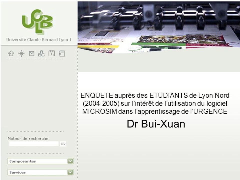 ENQUETE auprès des ETUDIANTS de Lyon Nord (2004-2005) sur lintérêt de lutilisation du logiciel MICROSIM dans lapprentissage de lURGENCE Dr Bui-Xuan