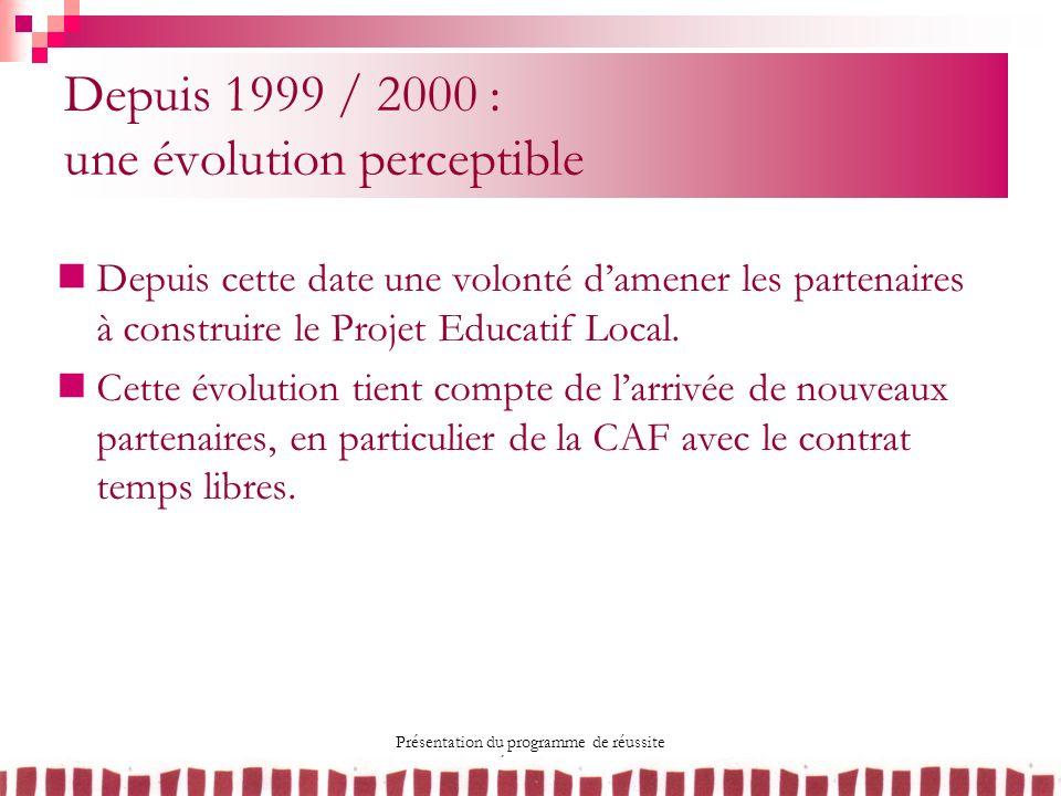 Présentation du programme de réussite éducative 10 mai 2007 Depuis 1999 / 2000 : une évolution perceptible Depuis cette date une volonté damener les p