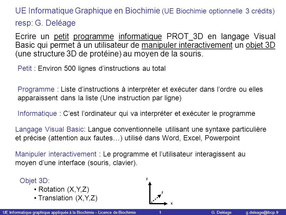 UE Informatique graphique appliquée à la Biochimie – Licence de Biochimie 1 G. Deléage g.deleage@ibcp.fr UE Informatique Graphique en Biochimie (UE Bi