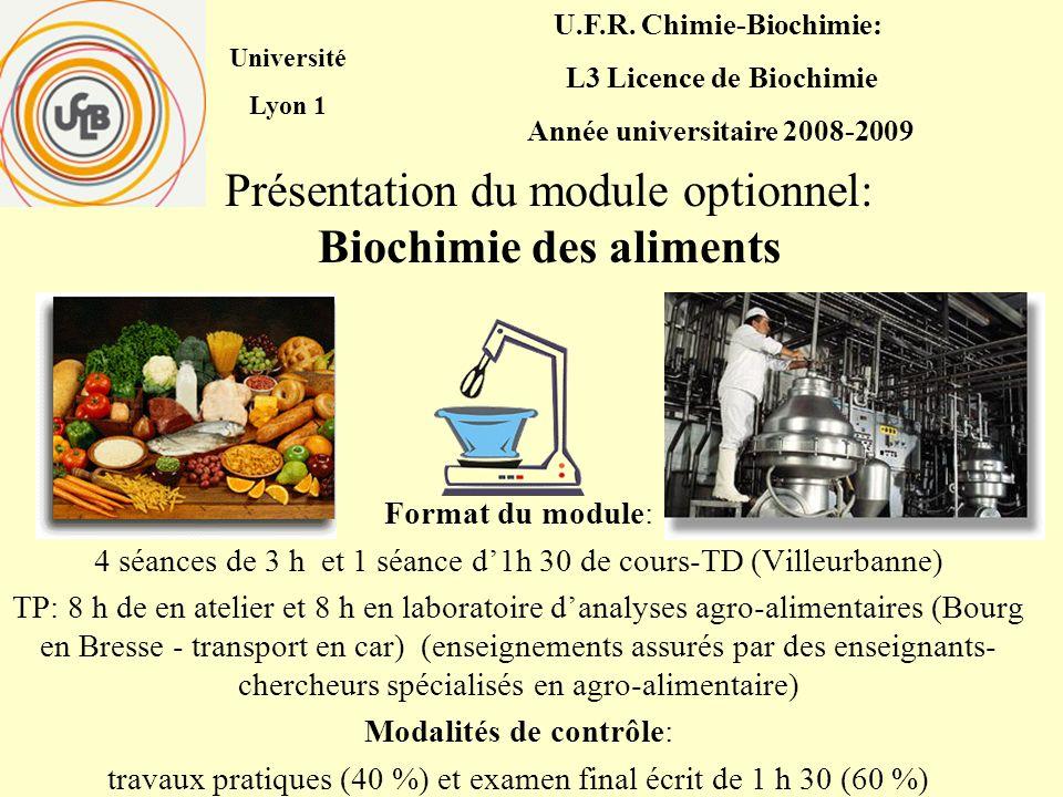 Présentation du module optionnel: Biochimie des aliments Format du module: 4 séances de 3 h et 1 séance d1h 30 de cours-TD (Villeurbanne) TP: 8 h de e