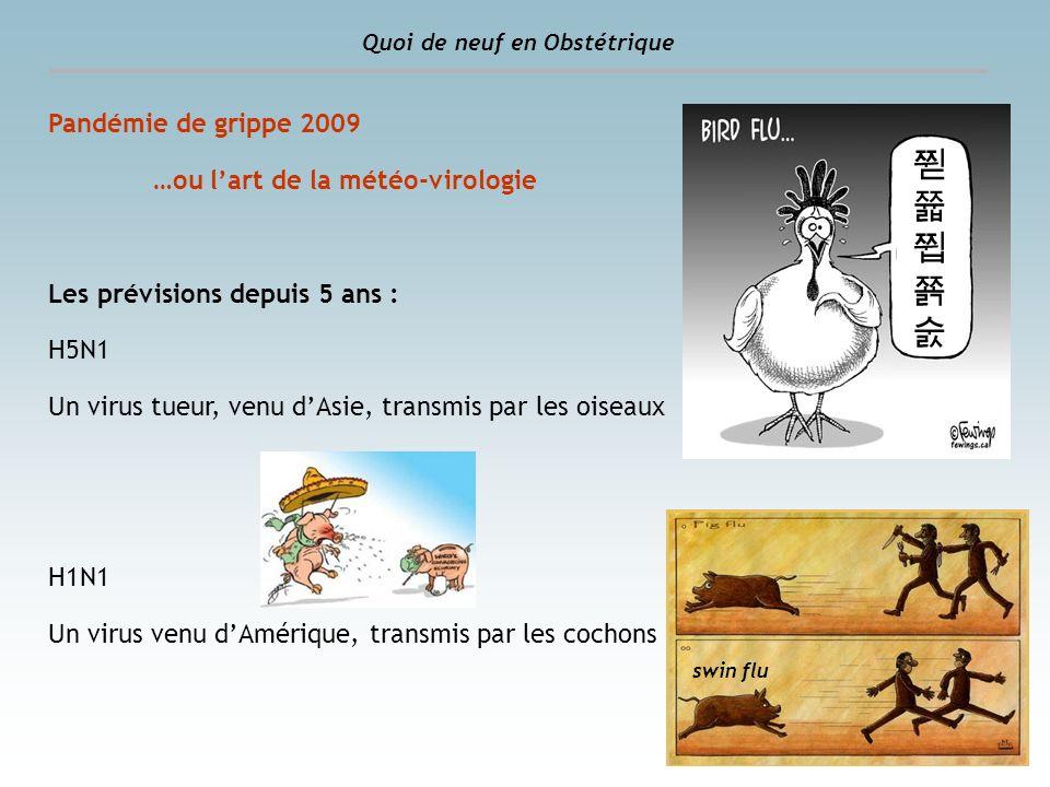 Pandémie de grippe 2009 …ou lart de la météo-virologie Les prévisions depuis 5 ans : H5N1 Un virus tueur, venu dAsie, transmis par les oiseaux H1N1 Un