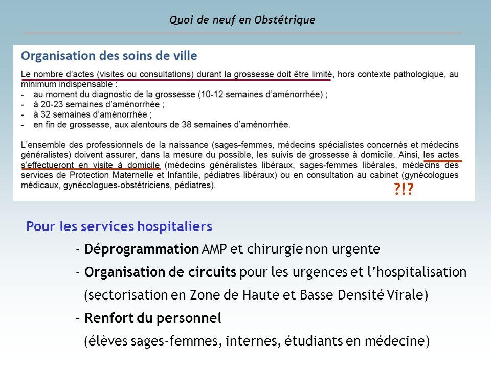 ?!? Pour les services hospitaliers - Déprogrammation AMP et chirurgie non urgente - Organisation de circuits pour les urgences et lhospitalisation (se