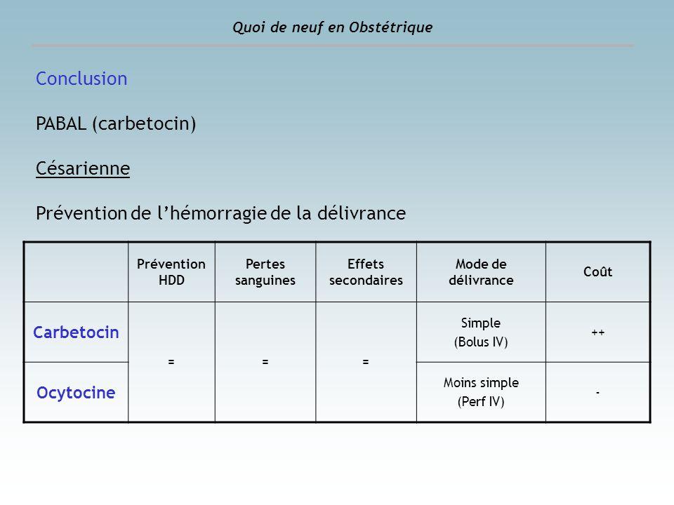Conclusion PABAL (carbetocin) Césarienne Prévention de lhémorragie de la délivrance Prévention HDD Pertes sanguines Effets secondaires Mode de délivra