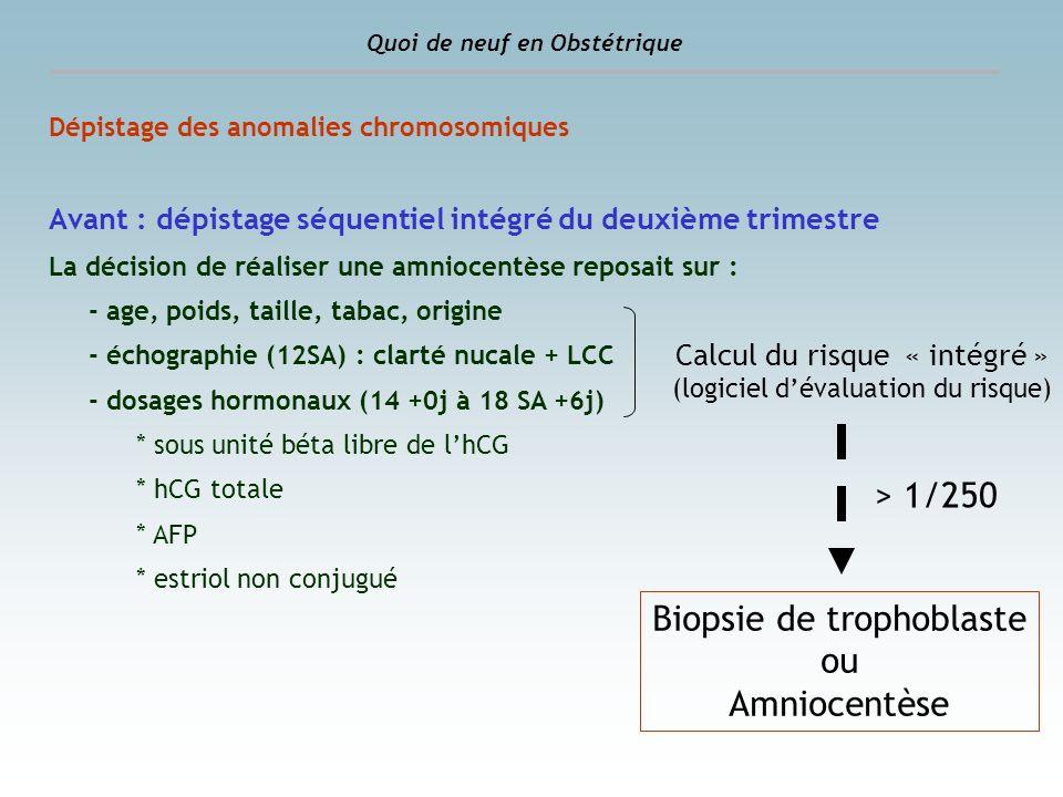 Dépistage des anomalies chromosomiques Maintenant : dépistage combiné du premier trimestre La décision de réaliser une amniocentèse repose sur : - age, poids, taille, tabac, origine - échographie : clarté nucale + LCC - dosages hormonaux au 1er trimestre * Protéine plasmatique placentaire de type A (PAPP-A) * sous unité béta libre de lhCG Quoi de neuf en Obstétrique Calcul du risque « combiné » (logiciel dévaluation du risque) Mesure de la clarté nucale et dosage hormonal Entre 11 SA + 0 j et 13 SA + 6 j (45 mm à 84 mm de LCC) > 1/250 Biopsie de trophoblaste ou Amniocentèse