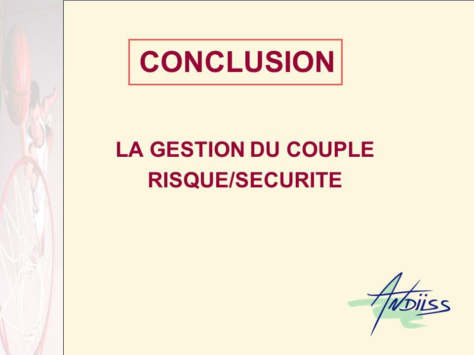 CONCLUSION LA GESTION DU COUPLE RISQUE/SECURITE