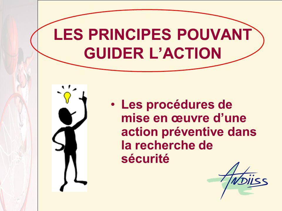 LES PRINCIPES POUVANT GUIDER LACTION Les procédures de mise en œuvre dune action préventive dans la recherche de sécurité