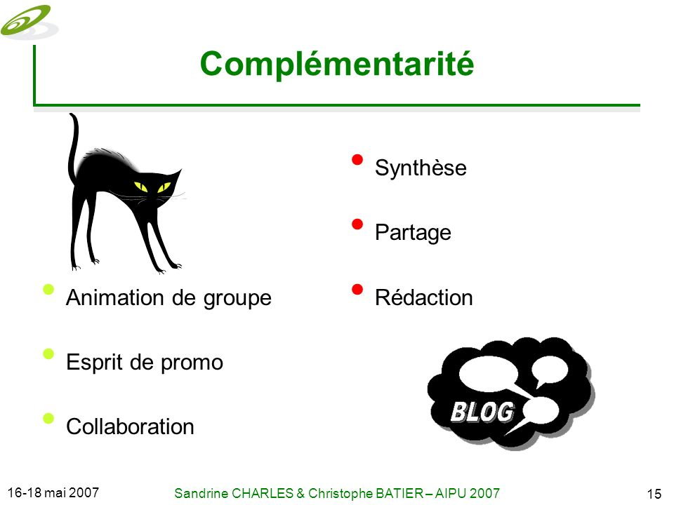 16-18 mai 2007 Sandrine CHARLES & Christophe BATIER – AIPU 2007 15 Complémentarité Animation de groupe Esprit de promo Collaboration Synthèse Partage Rédaction