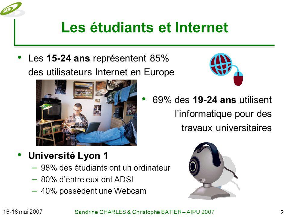 16-18 mai 2007 Sandrine CHARLES & Christophe BATIER – AIPU 2007 2 Les étudiants et Internet Les 15-24 ans représentent 85% des utilisateurs Internet en Europe 69% des 19-24 ans utilisent linformatique pour des travaux universitaires Université Lyon 1 – 98% des étudiants ont un ordinateur – 80% dentre eux ont ADSL – 40% possèdent une Webcam