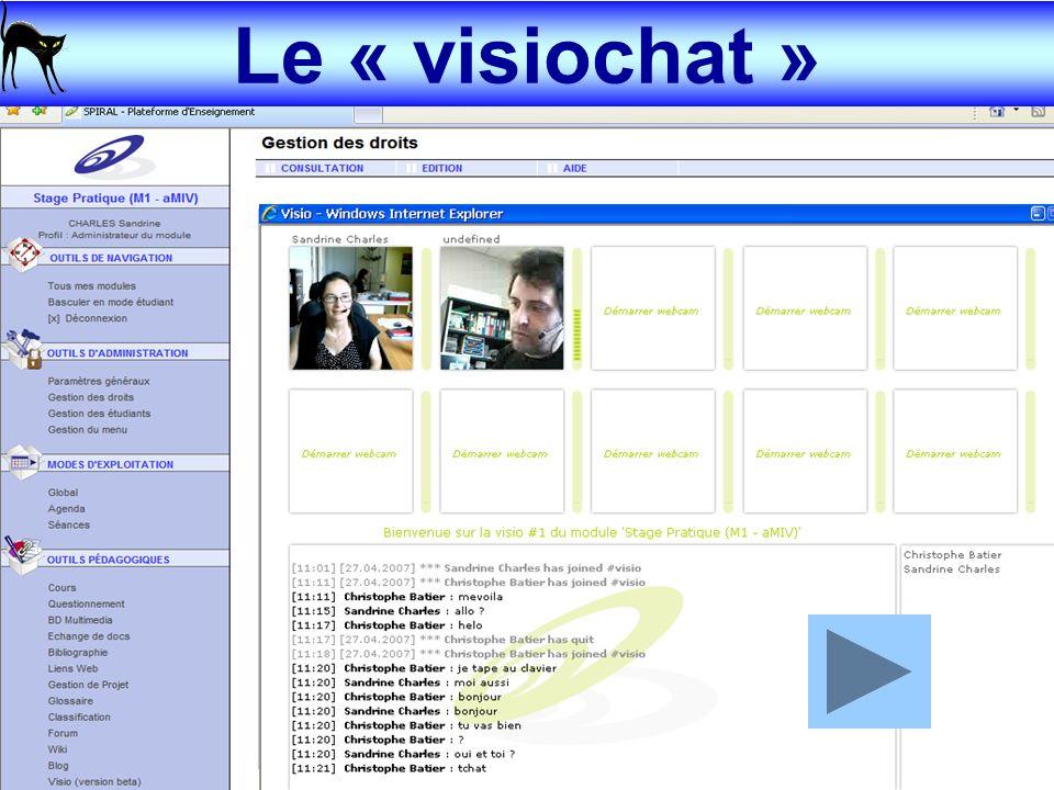 16-18 mai 2007 Sandrine CHARLES & Christophe BATIER – AIPU 2007 6 La visioconférence dans une plate-forme e-learning Le « visiochat »