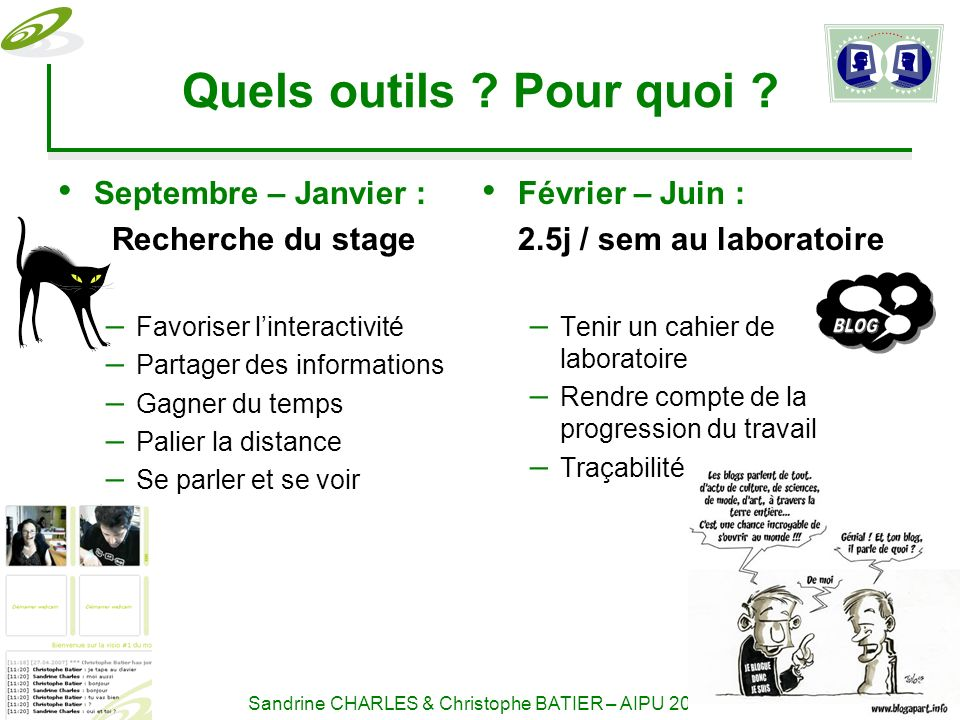 16-18 mai 2007 Sandrine CHARLES & Christophe BATIER – AIPU Quels outils .