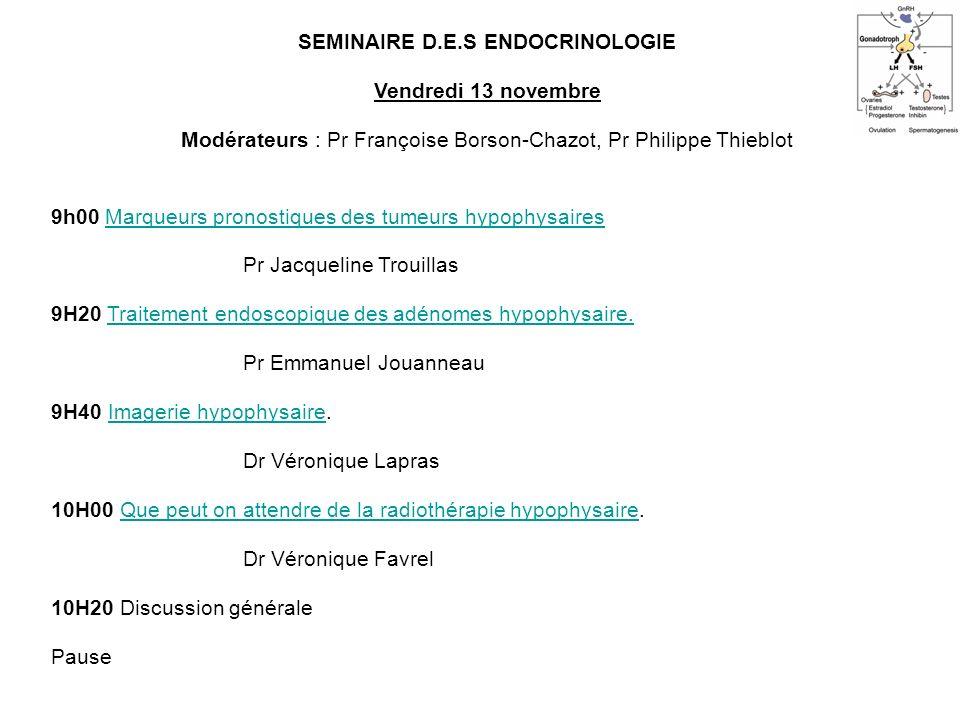SEMINAIRE D.E.S ENDOCRINOLOGIE Vendredi 13 novembre Modérateurs : Pr Françoise Borson-Chazot, Pr Philippe Thieblot 9h00 Marqueurs pronostiques des tum