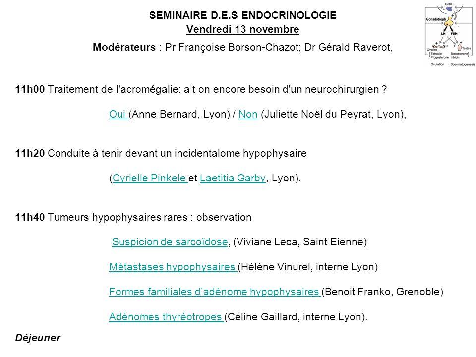 SEMINAIRE D.E.S ENDOCRINOLOGIE Vendredi 13 novembre Modérateurs : Pr Françoise Borson-Chazot; Dr Gérald Raverot, 11h00 Traitement de l'acromégalie: a