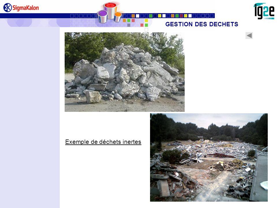 Exemple de déchets inertes GESTION DES DECHETS