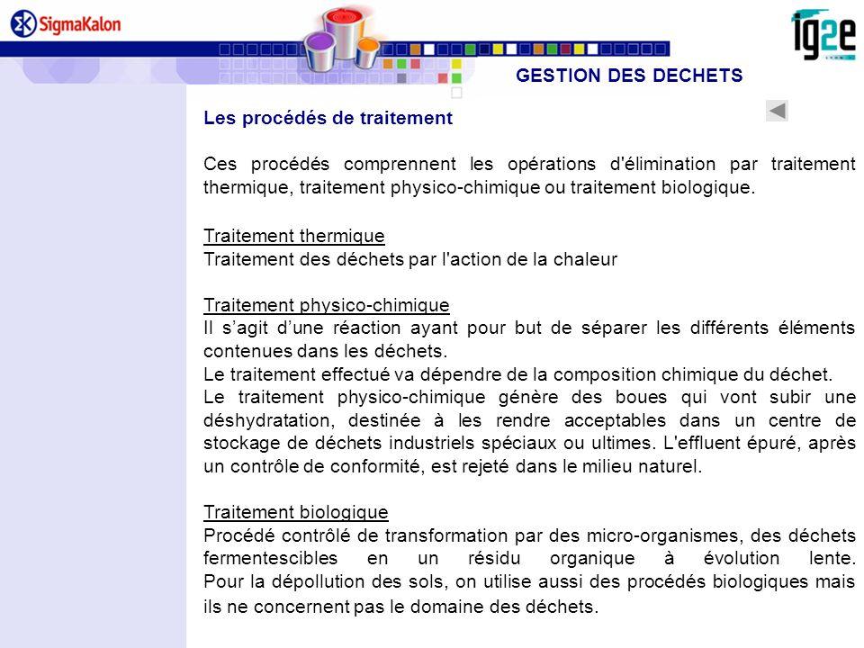Les procédés de traitement Ces procédés comprennent les opérations d'élimination par traitement thermique, traitement physico-chimique ou traitement b