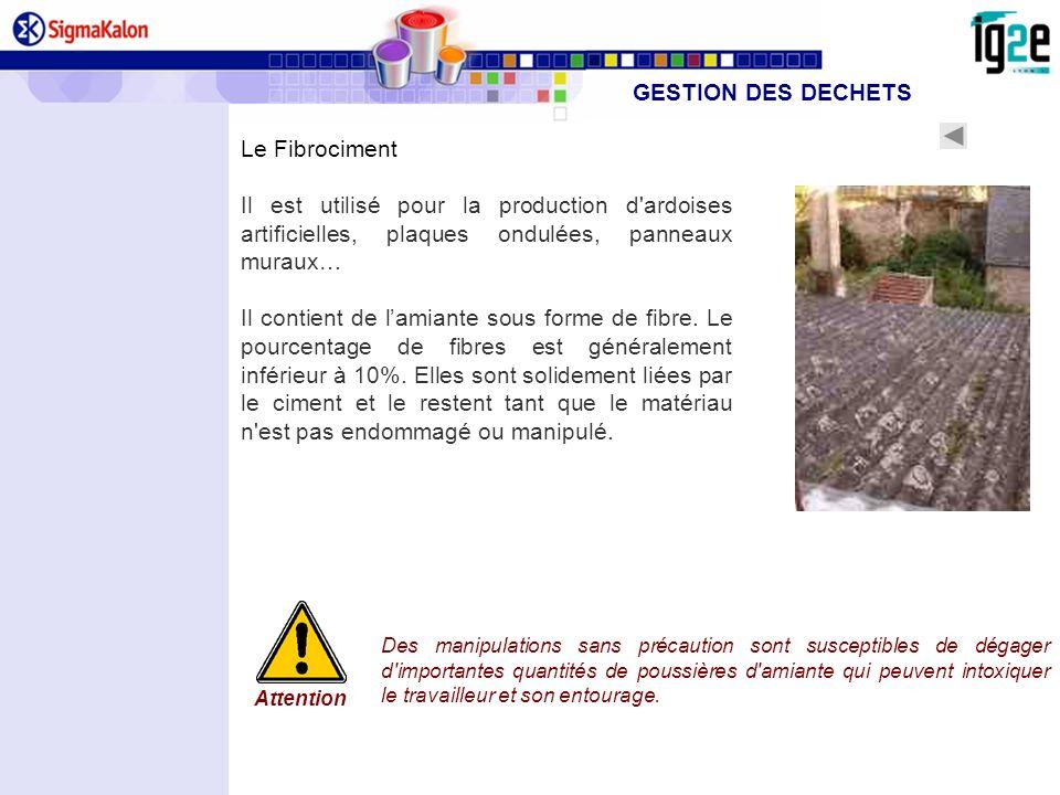 Le Fibrociment Il est utilisé pour la production d'ardoises artificielles, plaques ondulées, panneaux muraux… Il contient de lamiante sous forme de fi