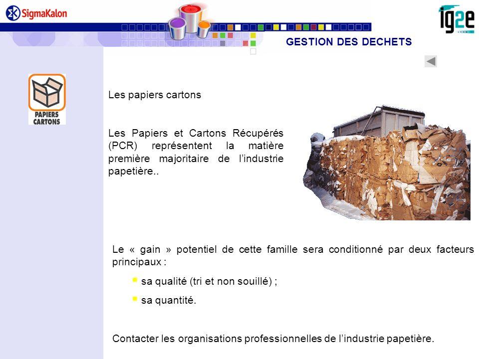Les papiers cartons Les Papiers et Cartons Récupérés (PCR) représentent la matière première majoritaire de lindustrie papetière.. Le « gain » potentie