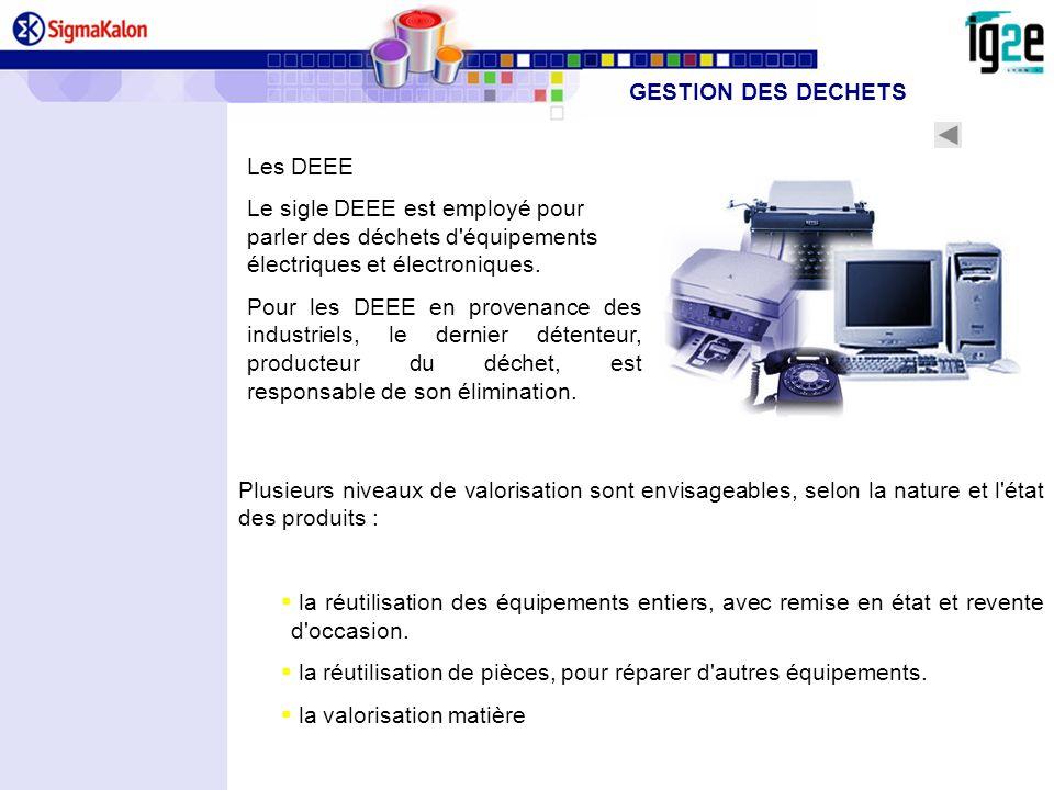 Les DEEE Le sigle DEEE est employé pour parler des déchets d'équipements électriques et électroniques. Pour les DEEE en provenance des industriels, le