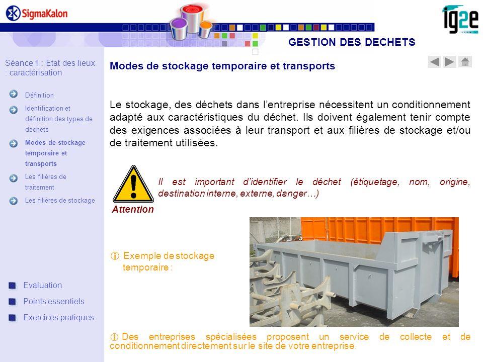 Modes de stockage temporaire et transports Le stockage, des déchets dans lentreprise nécessitent un conditionnement adapté aux caractéristiques du déc