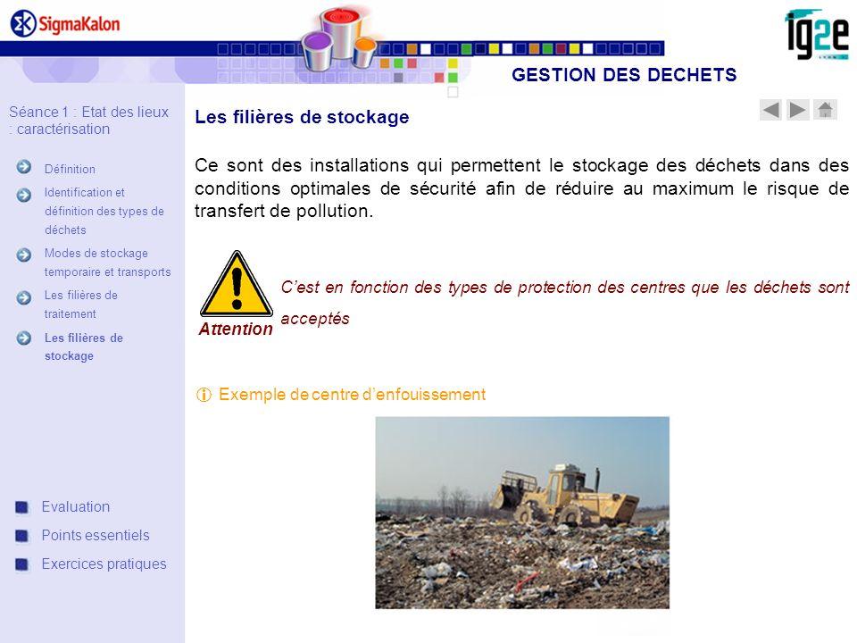 Les filières de stockage Ce sont des installations qui permettent le stockage des déchets dans des conditions optimales de sécurité afin de réduire au