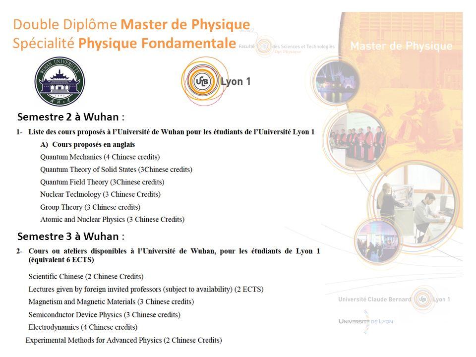 Double Diplôme Master de Physique Spécialité Physique Fondamentale Semestre 3 à Wuhan : Semestre 2 à Wuhan :