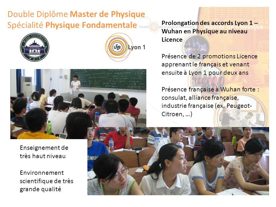 Double Diplôme Master de Physique Spécialité Physique Fondamentale Prolongation des accords Lyon 1 – Wuhan en Physique au niveau Licence Présence de 2