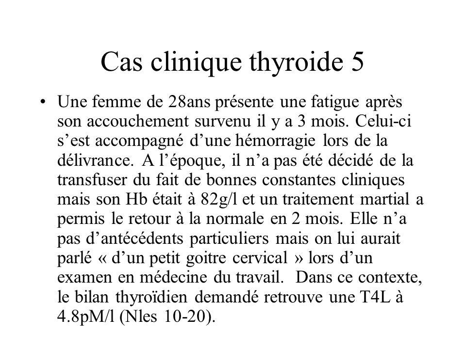 Cas clinique thyroide 5 Une femme de 28ans présente une fatigue après son accouchement survenu il y a 3 mois. Celui-ci sest accompagné dune hémorragie