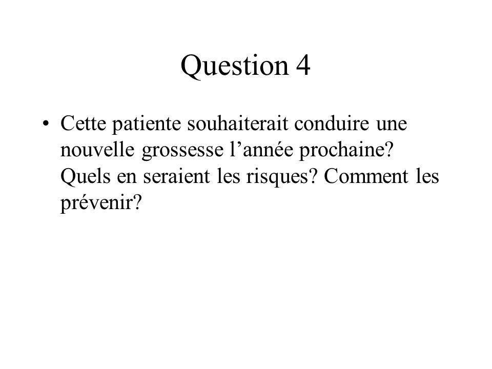Question 4 Cette patiente souhaiterait conduire une nouvelle grossesse lannée prochaine? Quels en seraient les risques? Comment les prévenir?