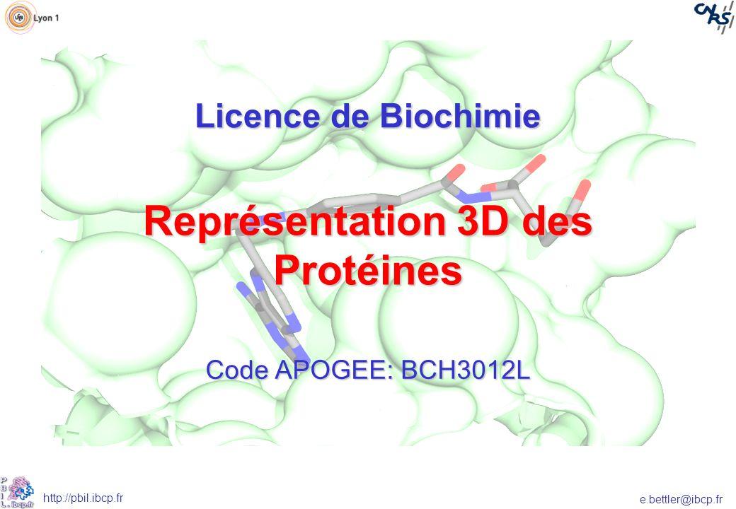 e.bettler@ibcp.fr http://pbil.ibcp.fr Les pré requis Connaissance de la structure des protéines comme enseigné dans les UE Biomolécules B et Biochimie structurale et fonctionnelle 1 Objectifs - Acquérir les compétences en visualisation et manipulations de structures 3D des macromolécules - Etre capable de réaliser des scripts permettant lanimation aisée de molécules.