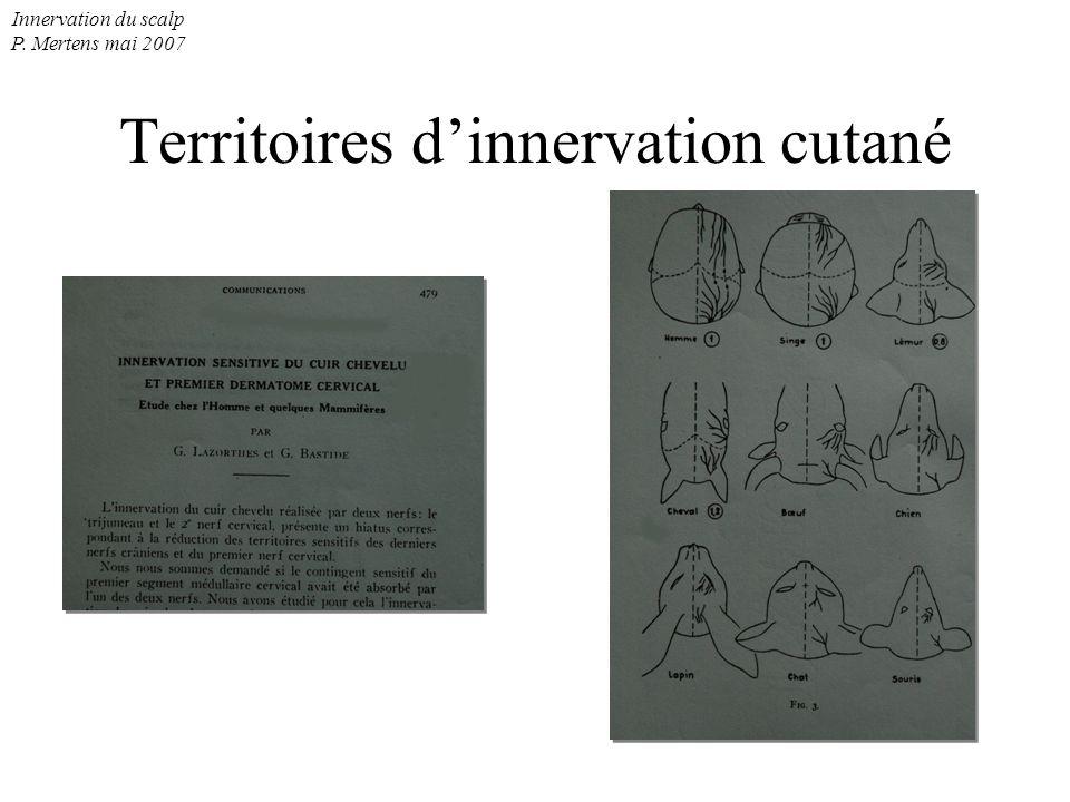 Innervation du scalp P. Mertens mai 2007 Territoires dinnervation cutané