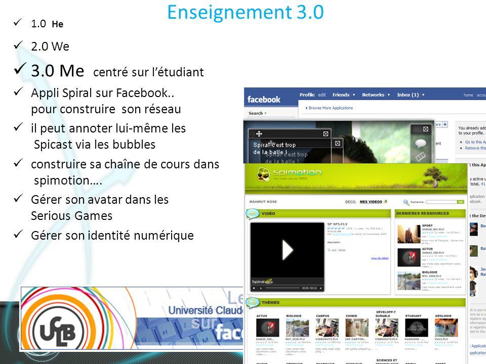 Enseignement 3.0 1.0 He 2.0 We 3.0 Me centré sur létudiant Appli Spiral sur Facebook..