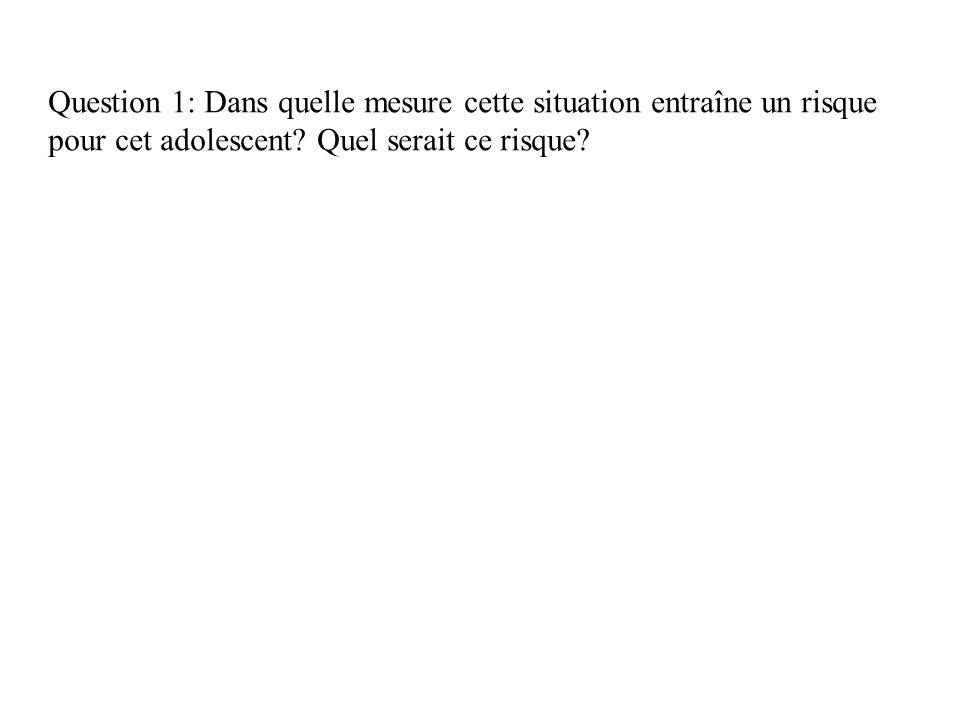Question 1: Dans quelle mesure cette situation entraîne un risque pour cet adolescent.