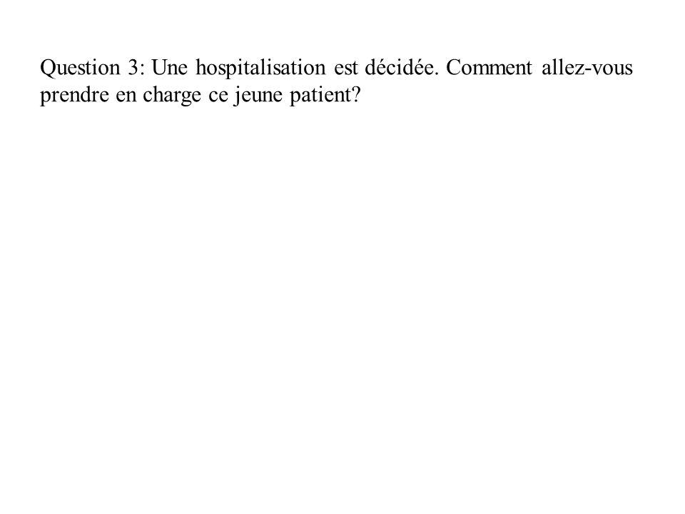 Question 3: Une hospitalisation est décidée. Comment allez-vous prendre en charge ce jeune patient