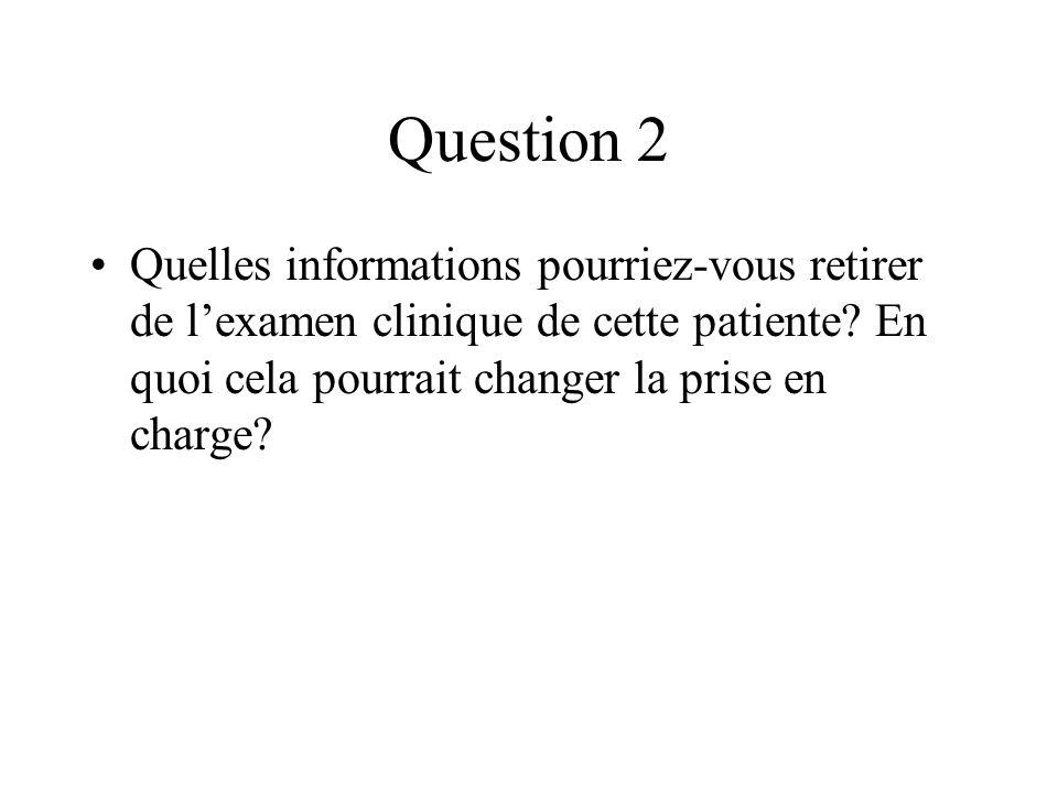 Question 2 Quelles informations pourriez-vous retirer de lexamen clinique de cette patiente? En quoi cela pourrait changer la prise en charge?