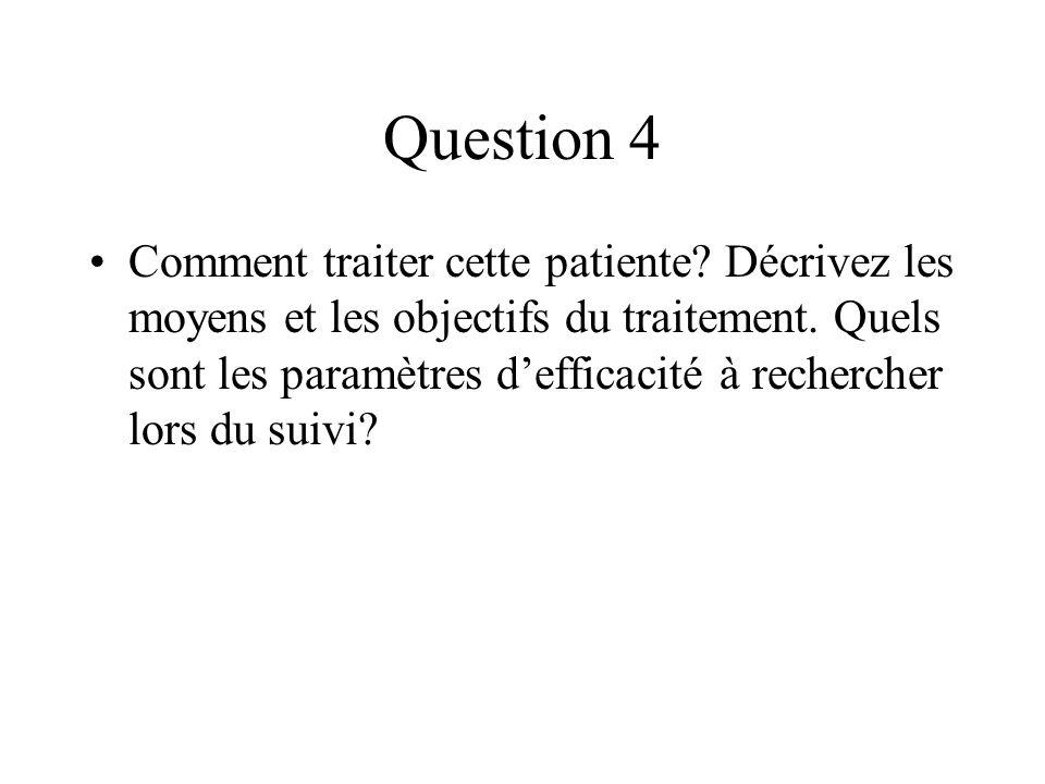 Question 4 Comment traiter cette patiente? Décrivez les moyens et les objectifs du traitement. Quels sont les paramètres defficacité à rechercher lors