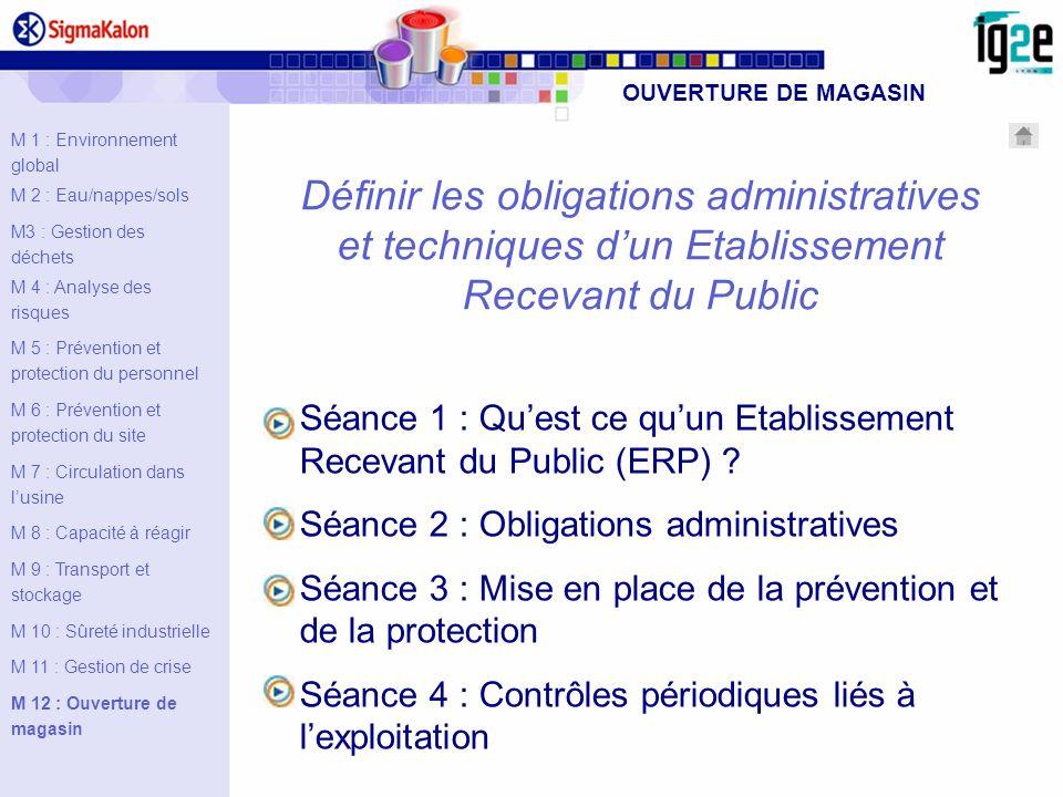 Définir les obligations administratives et techniques dun Etablissement Recevant du Public Séance 1 : Quest ce quun Etablissement Recevant du Public (