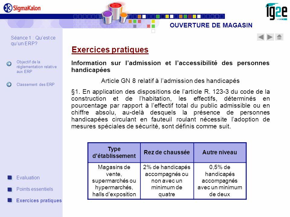 OUVERTURE DE MAGASIN Exercices pratiques Information sur ladmission et laccessibilité des personnes handicapées Article GN 8 relatif à ladmission des