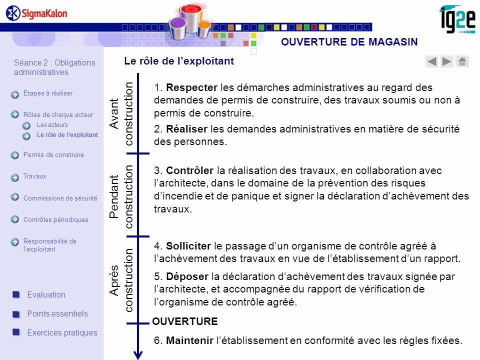 OUVERTURE DE MAGASIN Avant construction Pendant construction Après construction 1. Respecter les démarches administratives au regard des demandes de p