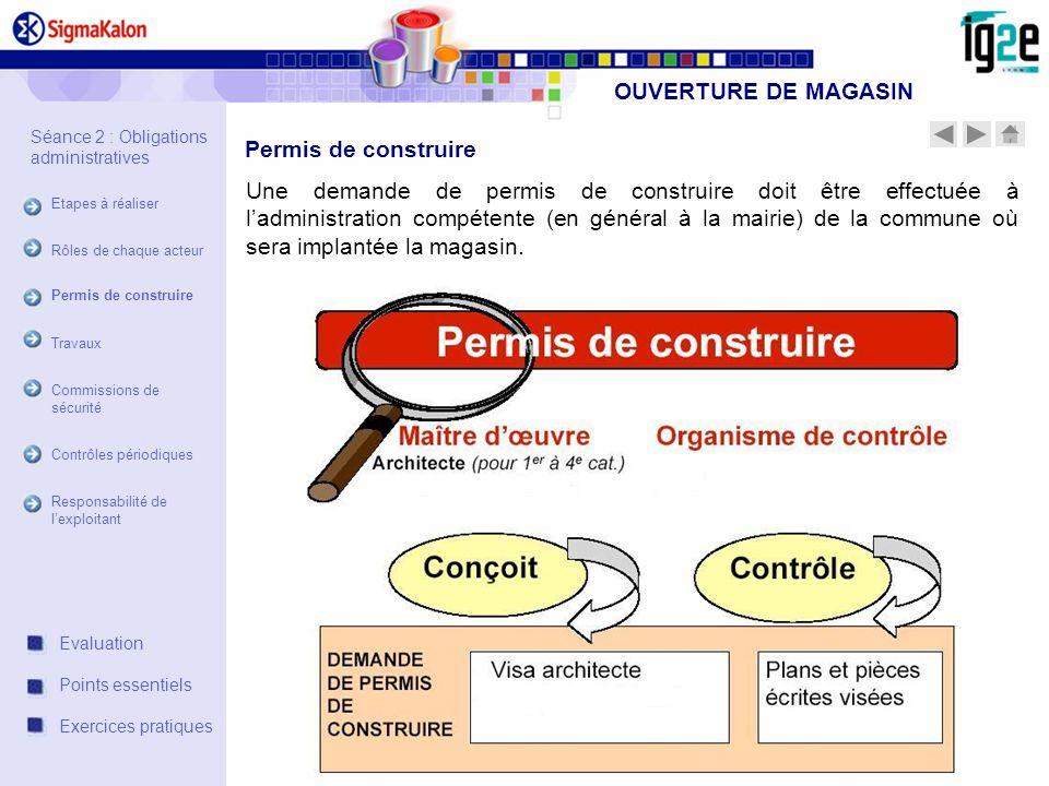 OUVERTURE DE MAGASIN Une demande de permis de construire doit être effectuée à ladministration compétente (en général à la mairie) de la commune où se